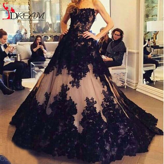 Off the Shoulder Black Lace Appliques Puffy Floor Length Arabic Long Prom Dresses 2016 Vestidos De Novia