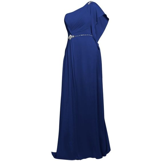 One Shoulder Drape Dress (36 QAR) ❤ liked on Polyvore featuring dresses, long dresses, bridesmaid dress, evening dress, gown, one sleeve cocktail dress, one long sleeve dress, blue bridesmaid dresses and one sleeve dress