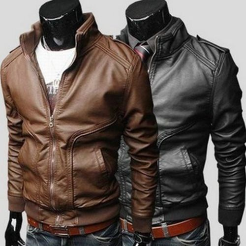 Cool Men Slim Fit Sexy Style High Collar PU Leather Jacket Coat ...