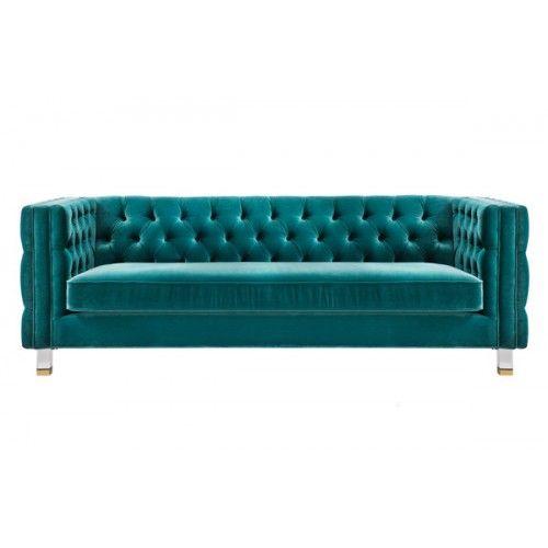 Turquoise Green Velvet All Over Tufted Square Edged Sofa