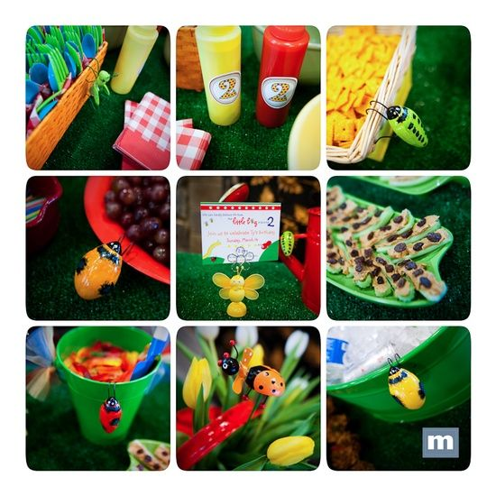 bug or picnic themed birthday party. gummy worms, outdoor carpet as a table cloth, ants on a log for snacks. Birthday party for your little bug.