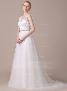 A-Linie/Princess-Linie V-Ausschnitt Hof-schleppe Tüll Spitze Brautkleid mit Perlen verziert Pailletten (002058789) - AmorModa