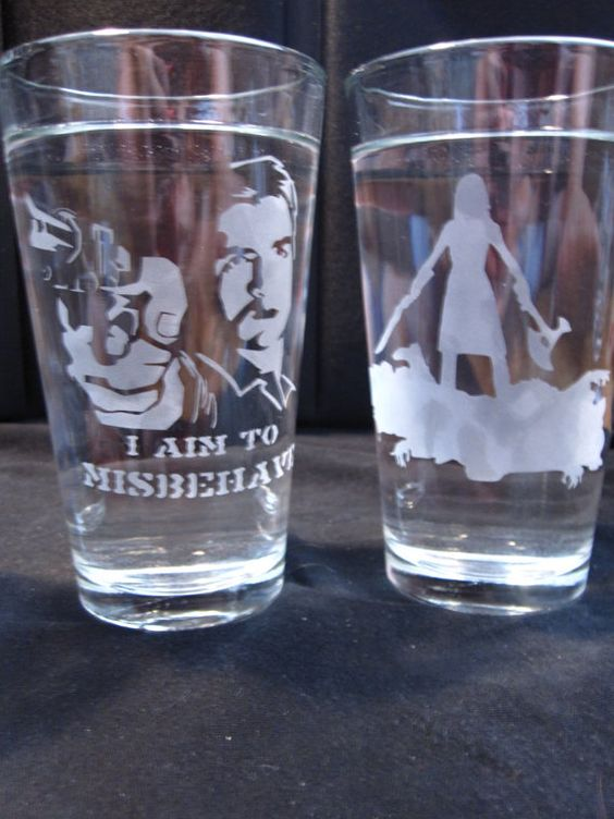 Etched Mal and River glasses...they aim to hold your drinks!