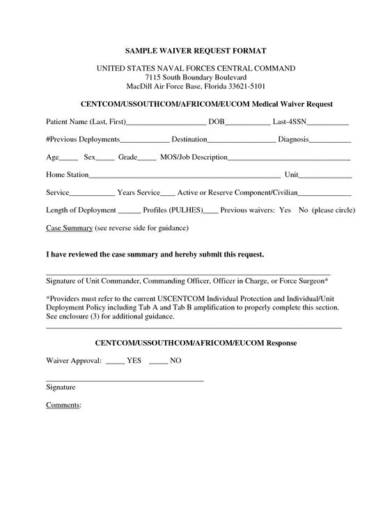Sample Waiver Letter images sample waiver form – Waiver Template