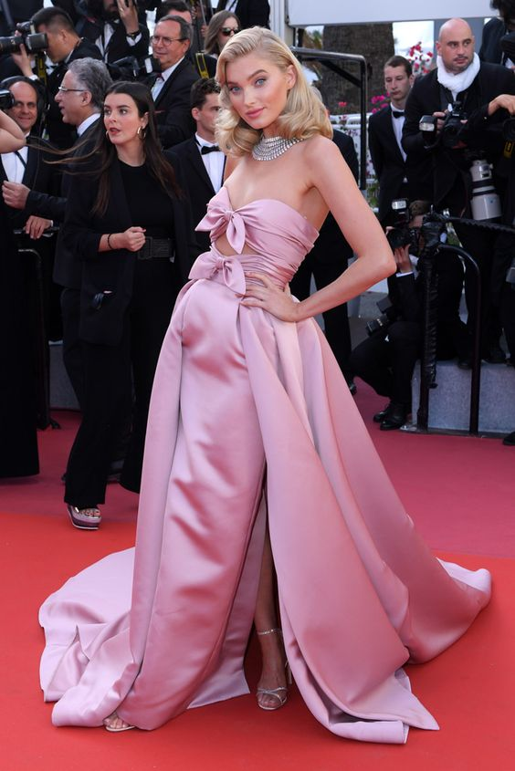 Elsa Hosk wearing Alberta Ferretti at Cannes 2018