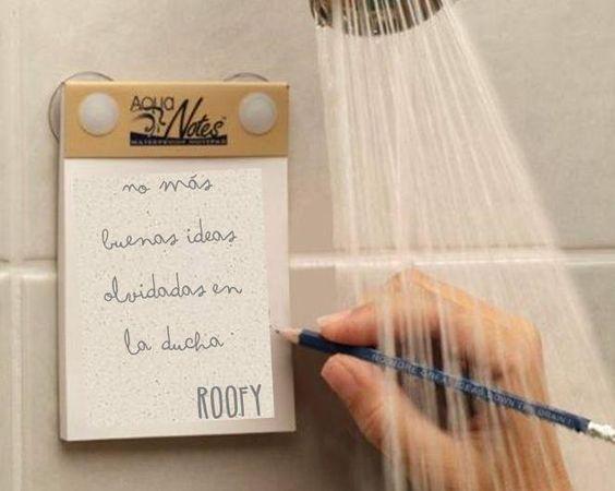 Dicen que las mejores ideas son las que se tienen en la ducha (como los mejores conciertos XD); por eso no es de extrañar que sea ahí donde sueles pensar en tu nuevo tejado. Ahora, con esta libreta waterproof, no habrá detalle que se te escape. #idea #tejas #ROOFY