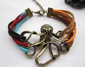 octopus braceletantique bronze octopus pendant by lightenme. $5.99 USD, via Etsy.: Braceletantique Bronze, Anchor Bracelets, Mine Braceletantique, Octopus Braceletantique