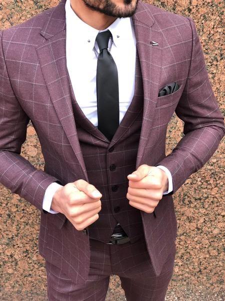 Slim-Fit Plaid Suit Vest Claretred – BOJONI