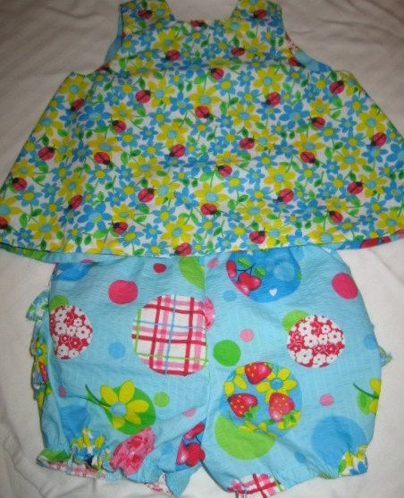 Baby Pinafore and Bloomers Ladybug Print by craftycrafts1 on Etsy, $20.00