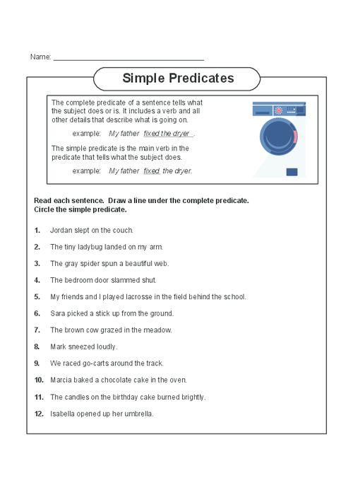 subject and predicate worksheet – Simple Predicate Worksheets
