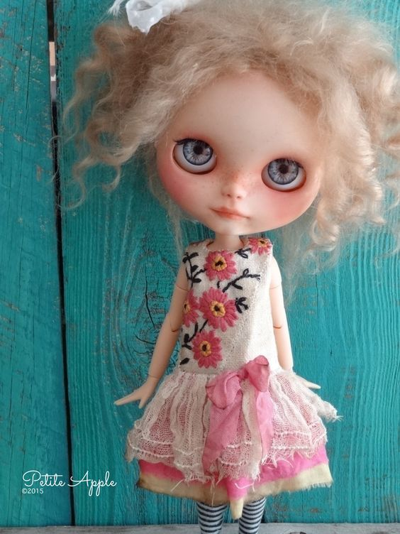 "Blythe doll outfit *Happy days of summer"" OOAK vintage hand embroidered dress by marina, $65.00 USD"