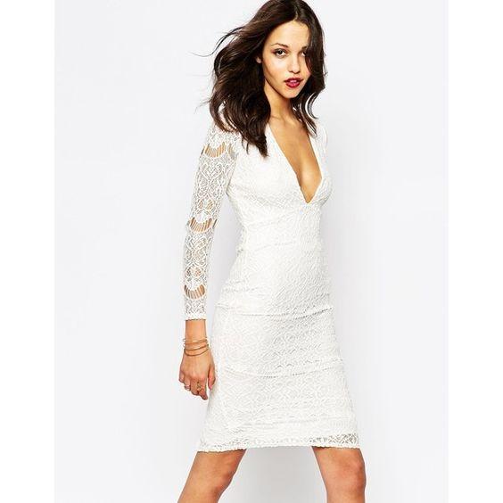 Boohoo White Lace Plunge Neck Midi Dress (50 AUD) ❤ liked on Polyvore