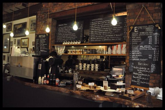 Rustic Interior Cafe Design With Red Bricks Wallpaper