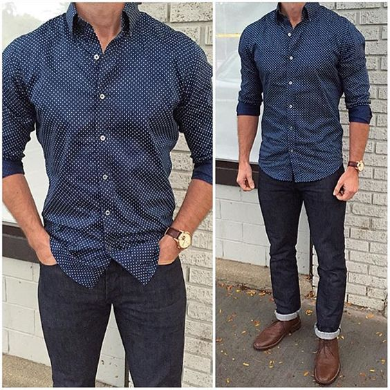checked shirt with stone wash jeans