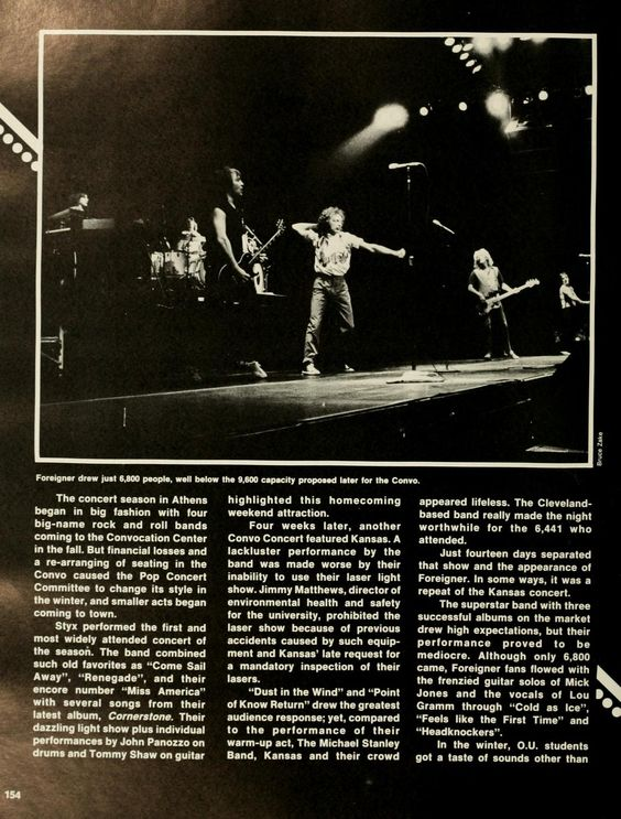 Spectrum Green yearbook, 1980. Ohio University's Convocation Center hosted Foreigner in the 1979-1980 school year. :: Ohio University Archives
