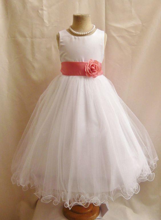 Flower Girl Dresses - WHITE with Guava or Coral (FD0FL) - Wedding Easter Junior Bridesmaid - For Children Toddler Kids Teen Girls