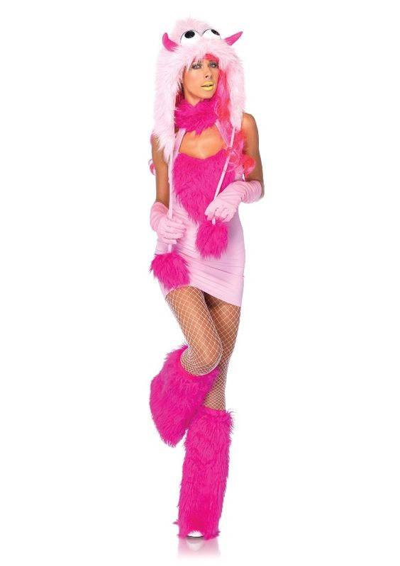 Pink Puff Furry Monster Costume