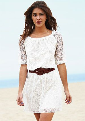 Love this dress for spring! The lacy is so feminine and with earthy touches like the braided belt its sooo cute!  And under 50 bucks + free shipping? YES YES!