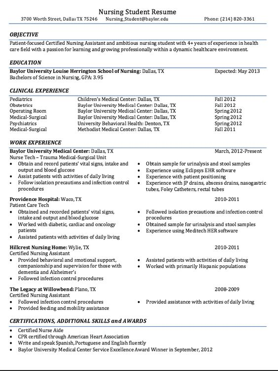 Certified Nursing Student Resume Sample - http\/\/resumesdesign - infection control nurse sample resume