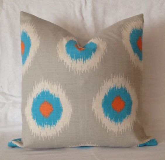 Couch Pillows, Turquoise Throw Pillows, Orange Throw Pillows, Ikat, Accent Pillows, Home Decor ...