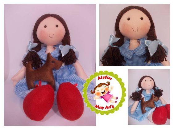 Dorothy em feltro e Totó em pelúcia