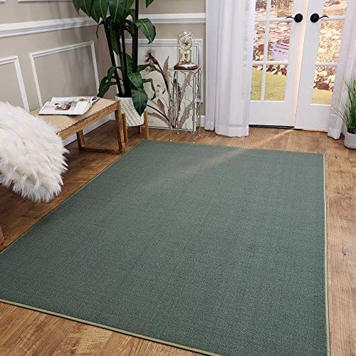 Enjoy Exclusive For Maxy Home Area Rug 5x7 Solid Teal Green Rubber Backed Non Slip Any Room Kitchen Rugs Mats Washable Made Europe Online In 2020 Green Area Rugs Area Rugs