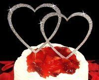 Dazzling Swarovski Crystal Double Heart Wedding Cake Topper - Affordable Elegance Bridal -