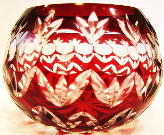 Thumbnail Of Votive Candle Holder Red Cut To Clear Crystal