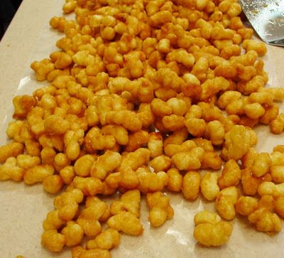 Puffed corn carmel corn.  most addicting stuff you will ever eat.  Who cares that it is made from that air puffed corn stuff.