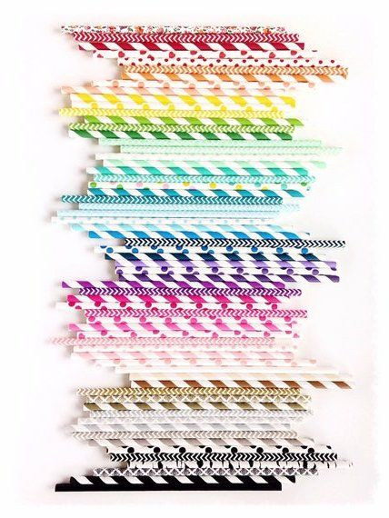 Fun colored paper straws