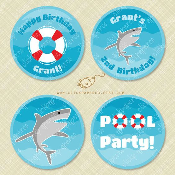 Hey, I found this really awesome Etsy listing at https://www.etsy.com/listing/233910047/shark-pool-party-custom-cupcake-toppers