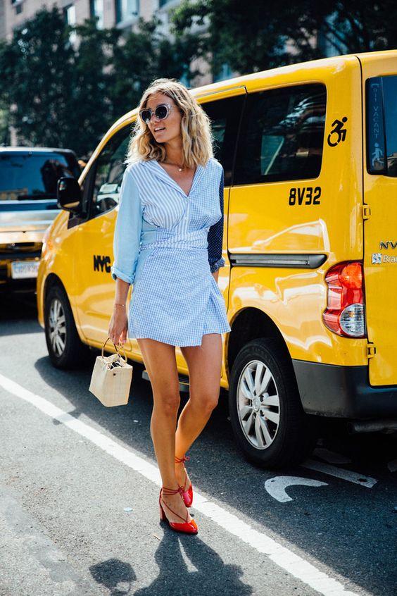 Camisa de rayas azules