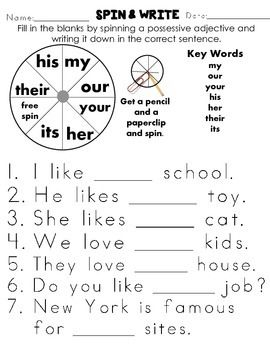 POSSESSIVE ADJECTIVES! GRADE 1 WORKSHEETS COMMON CORE ALIGNED 22 PAGES ...