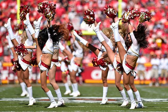 KANSAS CITY, MO - SEPTEMBER 11: Kansas City Chiefs cheerleaders perform on field before the game agains the San Diego Chargers at Arrowhead Stadium on September 11, 2016 in Kansas City, Missouri. (Photo by Jason Hanna/Getty Images)