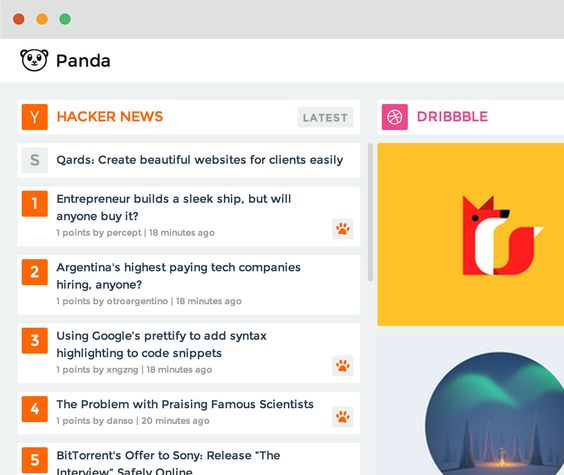 Panda - Daily News and Inspiration (see all your design/developer websites in one location) Web app or Chrome extension