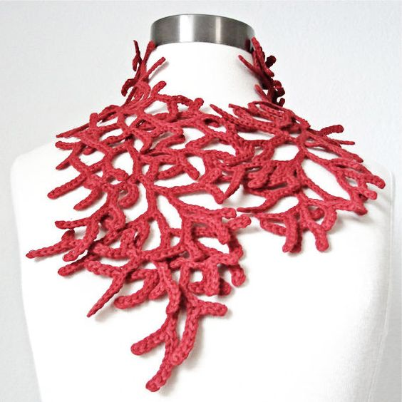Exotic Red Coral Art Scarf Statement Neckware. Hand by kanokwalee