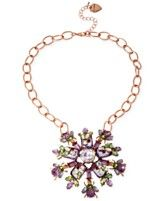 Betsey Johnson Rose Gold-Tone Crystal and Bead Flower Pendant Necklace