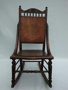 Antique Victorian Rocking Chair - Vintage Oak Chair