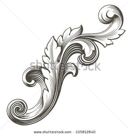 filigree pattern tattoos vintage baroque design