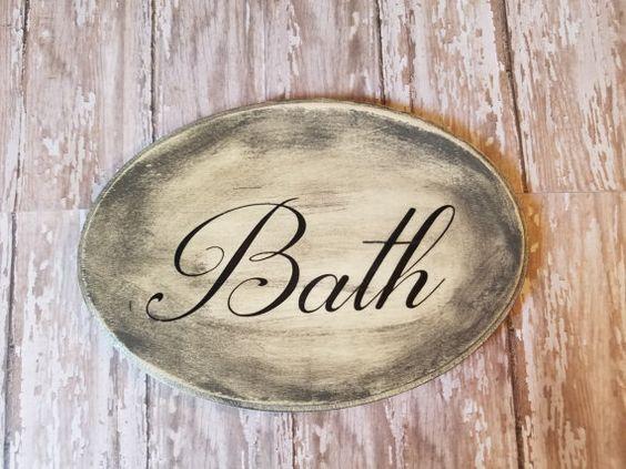 Distressed Oval Bath Wood sign-Home Decor by DesignsbyJenniferg