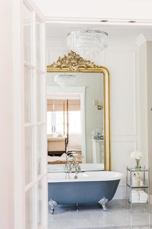 Glamorous French En Suite Bathroom Showcases A Stunning Gold Rococo Floor Mirror Placed Against A Wh Bathroom Interior Design French Bathroom Bathroom Interior