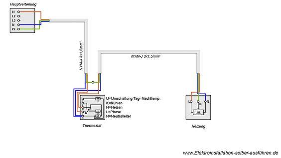 Simple Schaltplan eines Thermostats f r eine Direktheizung Elektrische Schaltungen f r die Hausinstallation Pinterest