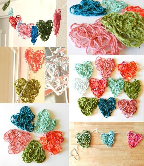 Starched Yarn Hearts