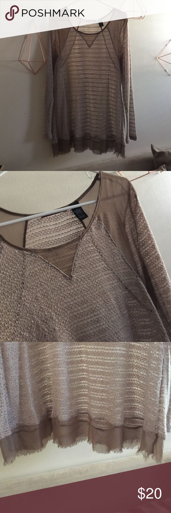 Sheer BKE Top Great condition. Super cute for layering BKE Tops Tees - Long Sleeve