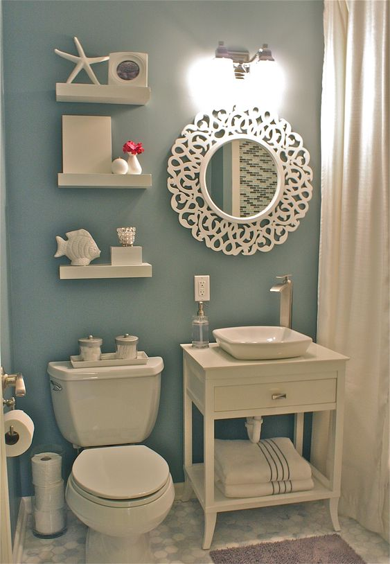 White nautical bathrooms gift cards and happy on pinterest for Cute guest bathroom ideas