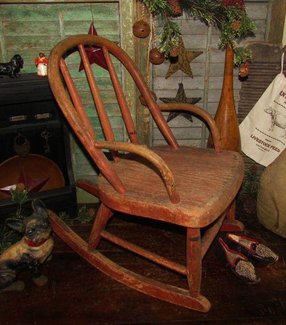 Antique Vtg Wooden Red Bentwood Toy Bent Wood Rocking Rockin Childs Chair #NaivePrimitive