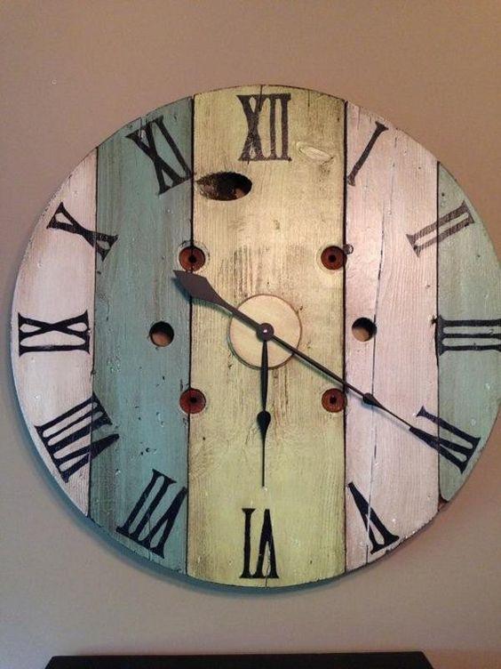 Bois horloge murale d coration feuille id e d co 2016 mur pinterest - Etagere murale rustique ...