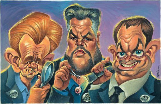 """CARICATURAS DE FAMOSOS: """"David Caruso, William Petersen y Gary Sinise"""" por..."""