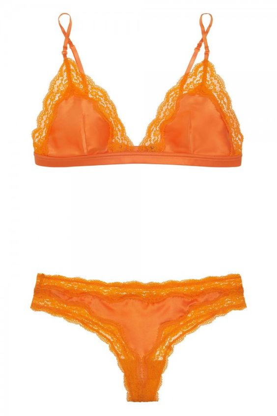 Stella McCartney Clara Whispering Lace Trimmed Stretch Silk Soft Cup Triangle Bra And Thong
