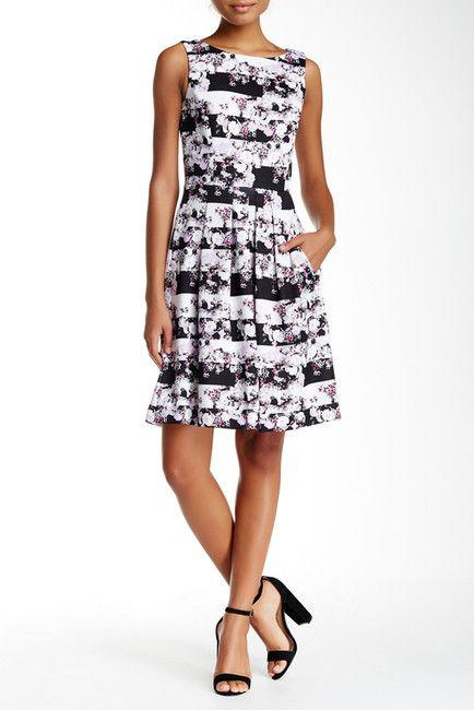 Image of Tahari Printed Scuba Fit & Flare Dress